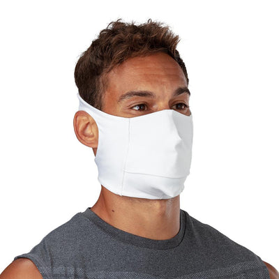 White Play Safe Face Mask – Male Model Wearing Protective Safety Face Mask - Right Angle