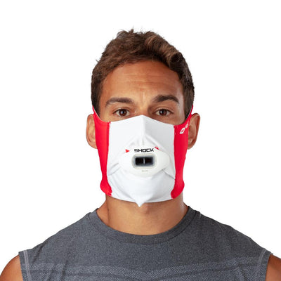 Canada Flag Play Safe Face Mask – Male Model Wearing Protective Safety Face Mask with White Max AirFlow Football Mouthguard - Front Angle
