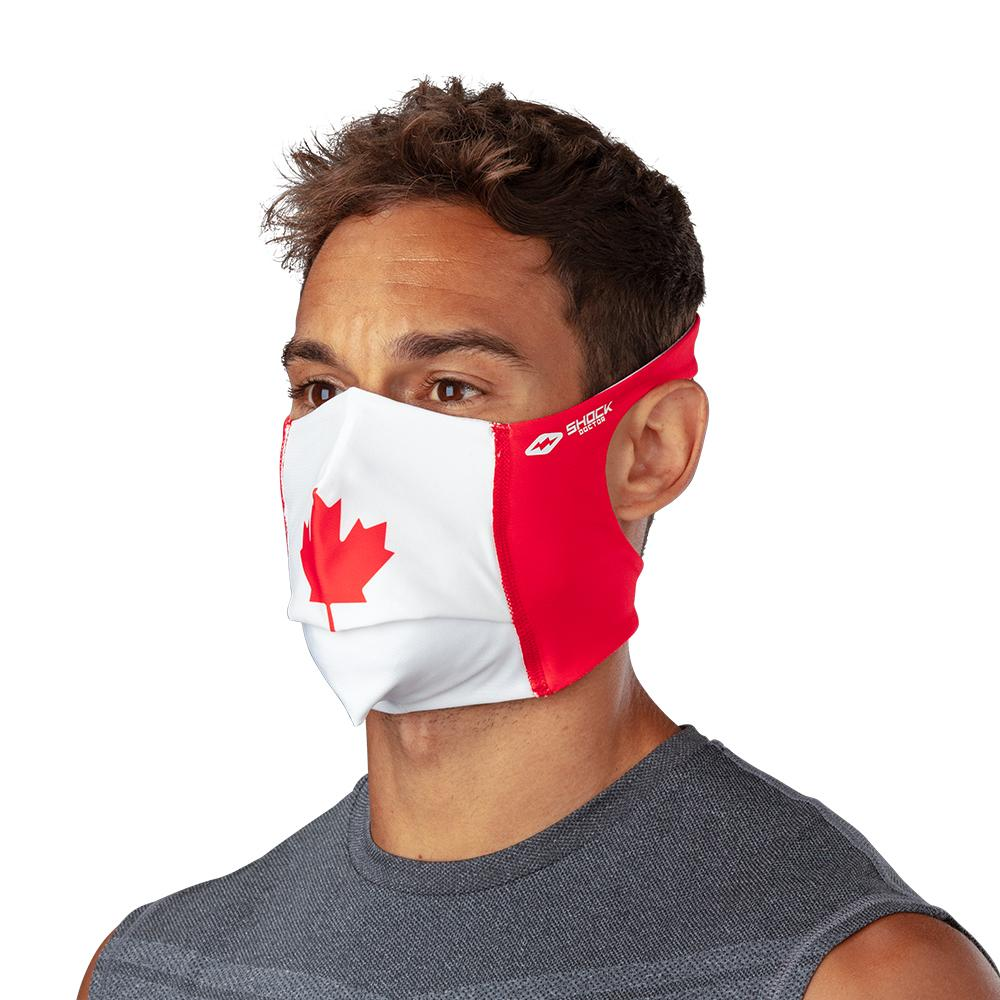 Canada Flag Play Safe Face Mask – Male Model Wearing Protective Safety Face Mask - Left Angle