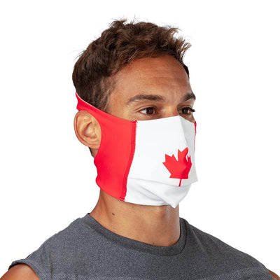 Canada Flag Play Safe Face Mask – Male Model Wearing Protective Safety Face Mask - Right Angle