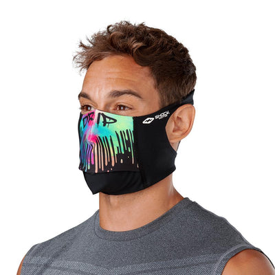 Drip Play Safe Face Mask – Male Model Wearing Protective Safety Face Mask - Left Angle