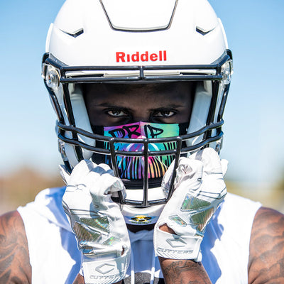 Drip Play Safe Face Mask Lifestyle Image – Male Football Player With Helmet on Wearing Protective Safety Face Mask - Front Angle