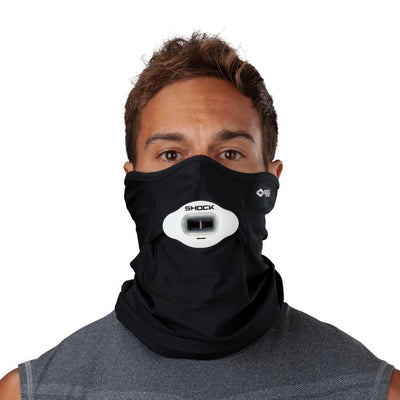 Black Play Safe Neck-Face Gaiter – Male Model Wearing Protective Safety Face and Neck Covering with White Max AirFlow Football Mouthguard - Front Angle