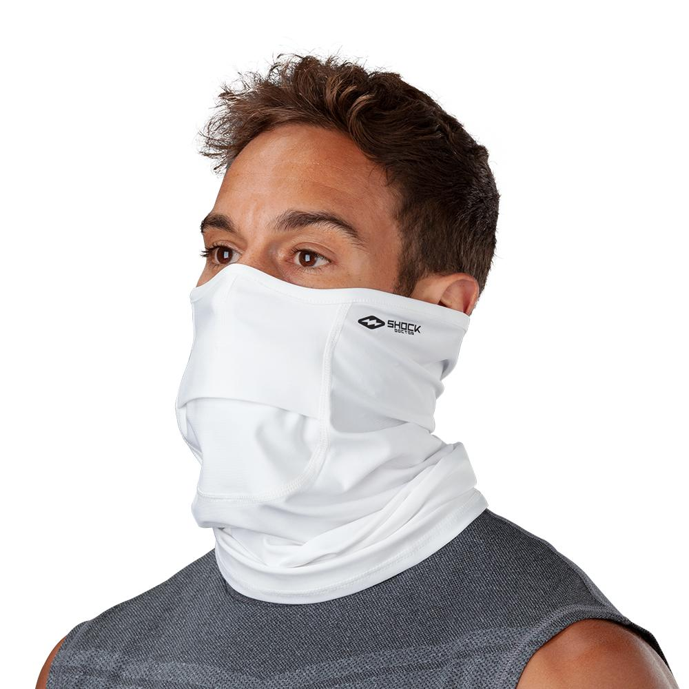 White Play Safe Neck-Face Gaiter– Male Model Wearing Protective Safety Face and Neck Covering - Left Angle