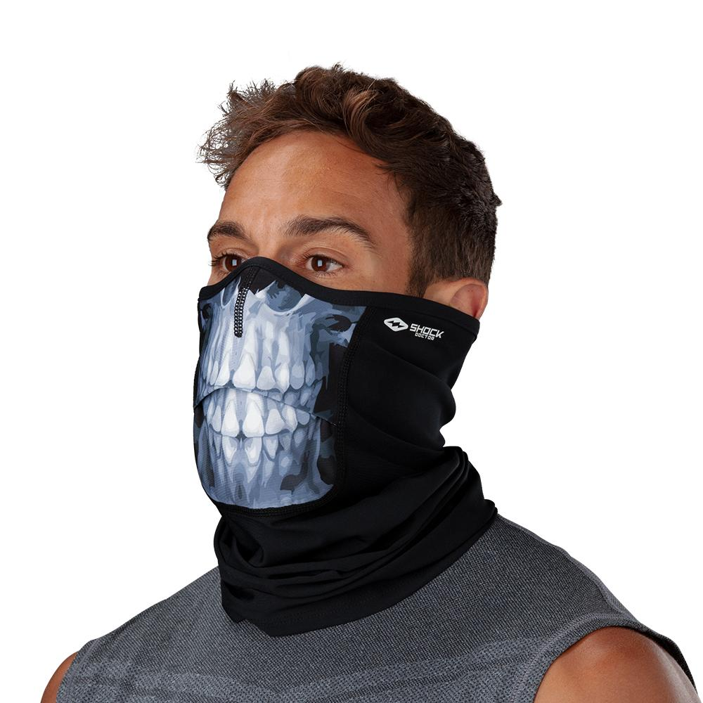 Skull Play Safe Neck-Face Gaiter– Male Model Wearing Protective Safety Face and Neck Covering - Left Angle