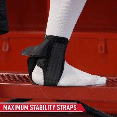 McDavid Stealth Cleat Ankle Brace - Tech Callout -  Stirrup Straps Maximize Medial/Lateral Stability