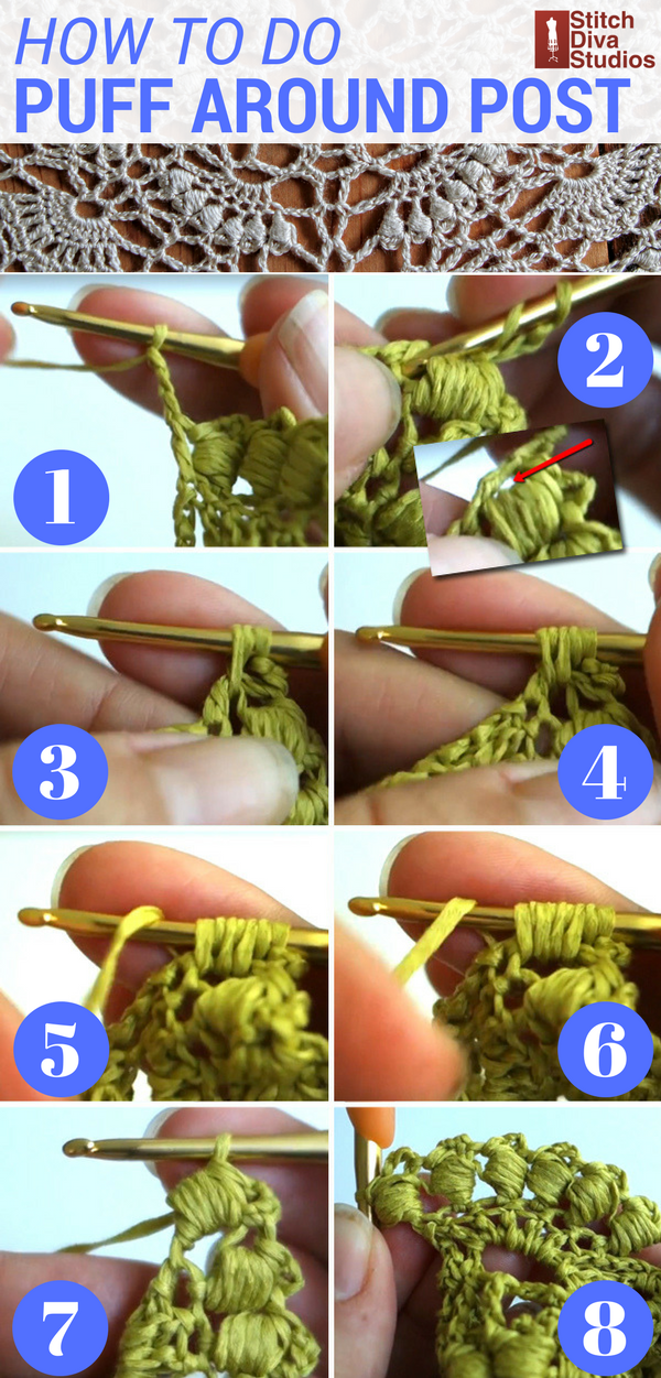 How to crochet a puff stitch around a post
