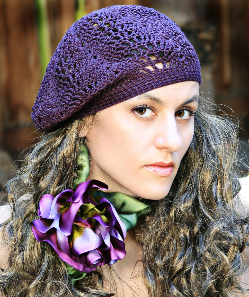 Slouchy Crochet Lace Beret - Hand Crocheted
