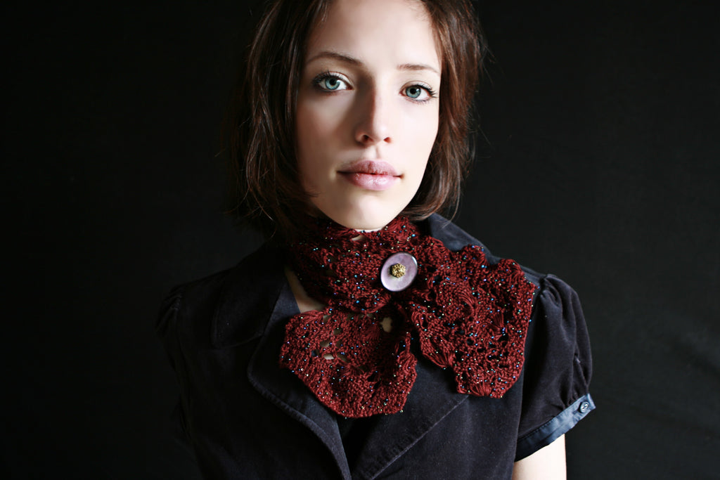 Knitted Lace Cravat - Hand Knitted