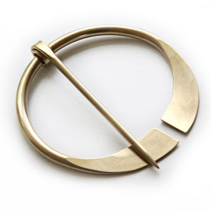 Flared-End Penannular Shawl Pin (Brass)