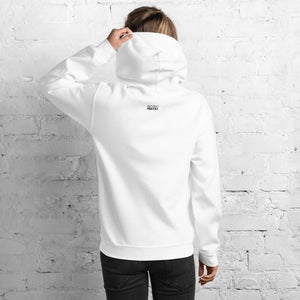 The back of a white hooded sweatshirt with Projekt Prata logo