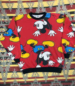 Vintage 90s Mickey All over print crew size M