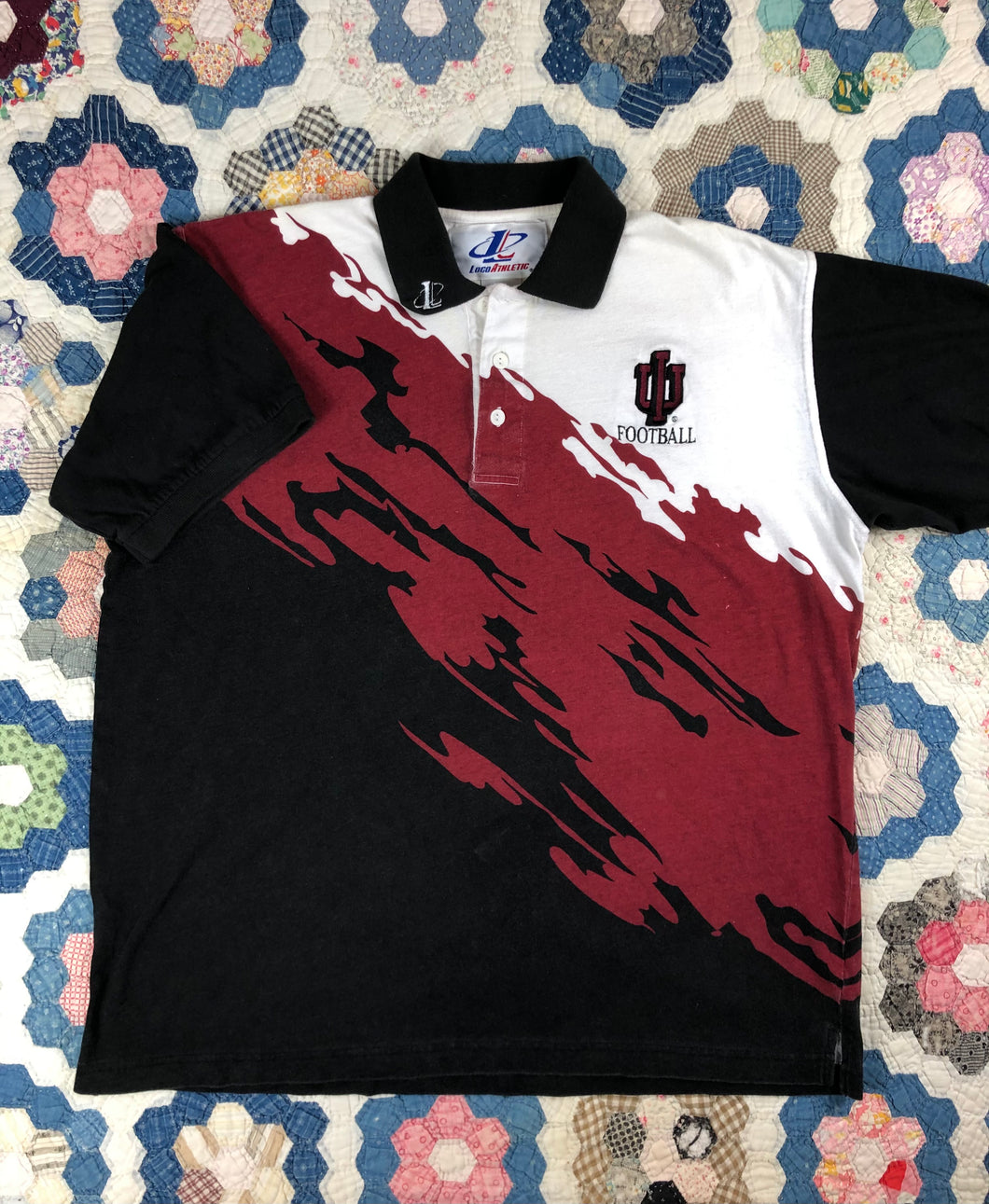 Vintage 90s IU paint Splatter polo shirt size XL