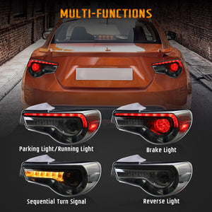 VLAND Set of Dual Beam Projector Headlights and Full LED Tail Lights for Toyota 86 GT86 2012-2020 Subaru BRZ 2013-2020 Scion FR-S 2013-2020 (LHD and RHD Editions on Headlights. Red Clear and Smoked Styles on Tail Lights)