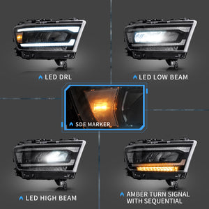 VLAND Matrix Projector and Full LED Headlights for Dodge Ram 2019-UP (Pre-sale Product. Matrix Projector and Full LED Styles to Choose)