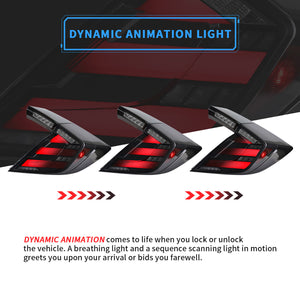 VLAND Full LED Tail Lights Smoked for Honda Civic Hatchback and Type R 2017-UP (Dynamic Welcome Lighting w/ Sequential Turn Signals)