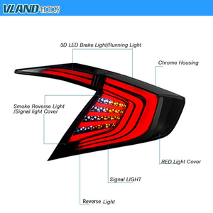 VLAND LED Taillights for Honda Civic 10 Gen 2016-2019 Red / Smoked YAB-SY-0276