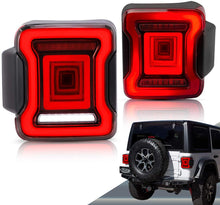Load image into Gallery viewer, VLAND Full LED Tail Lights for Jeep Wrangler 2018-UP (Single Reverse w/ Red Turn Signals)