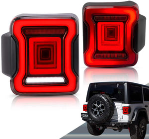 VLAND Full LED Tail Lights for Jeep Wrangler 2018-UP (Single Reverse w/ Red Turn Signals)