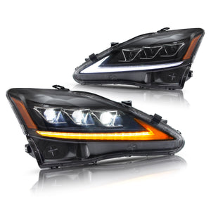 VLAND LED Projector Headlights for Lexus IS250 IS350 2006-2012 IS200d IS F 2008-2014 (Amber and Clear Reflector Edition)