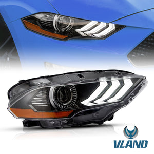 VLAND for Ford Mustang Dual Beam Headlights 2018 2019 2020  ABS, PMMA, GLASS Material  YAA-XMT-2037