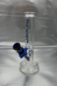 "10"" Straight Tube Blue Bong Water Pipe w/Ice Pinch"