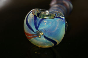 "3 1/2"" SATURN'S RINGS - TWIN Chameleon Glass Pipe"