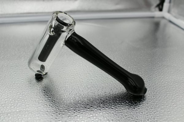 "6.7"" Thick Glass Black Hammer Bubbler"