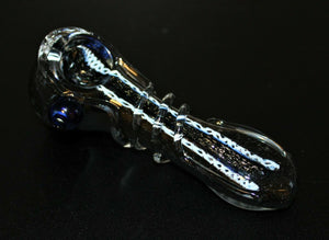 "4 1/2"" Comet's Tail Black Thick Glass Pipe"