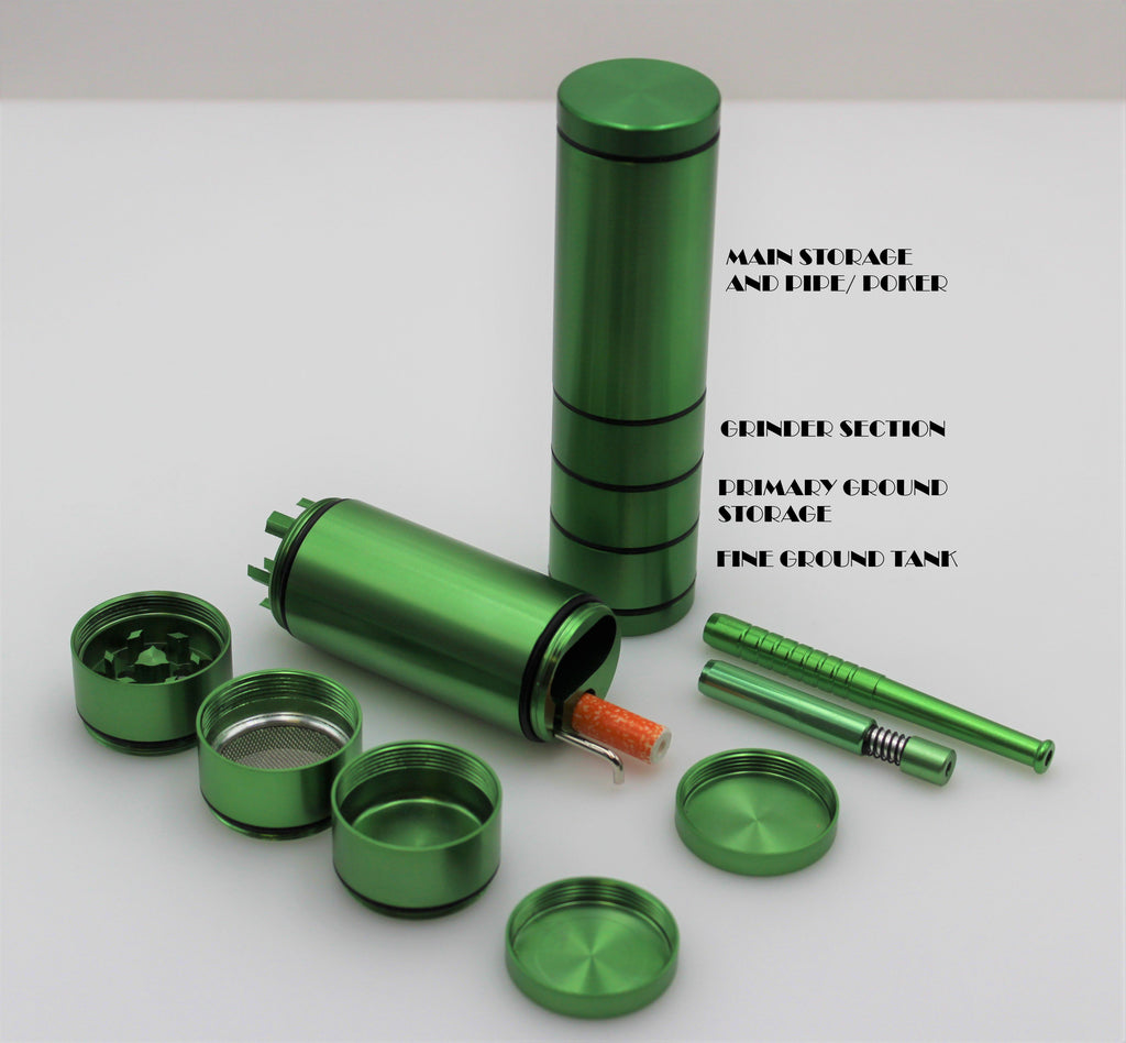 4 LAYER GRINDER DUGOUT COMBO OUTDOOR KIT - GREEN - w/ 3 Tobacco One Hitter Pipes