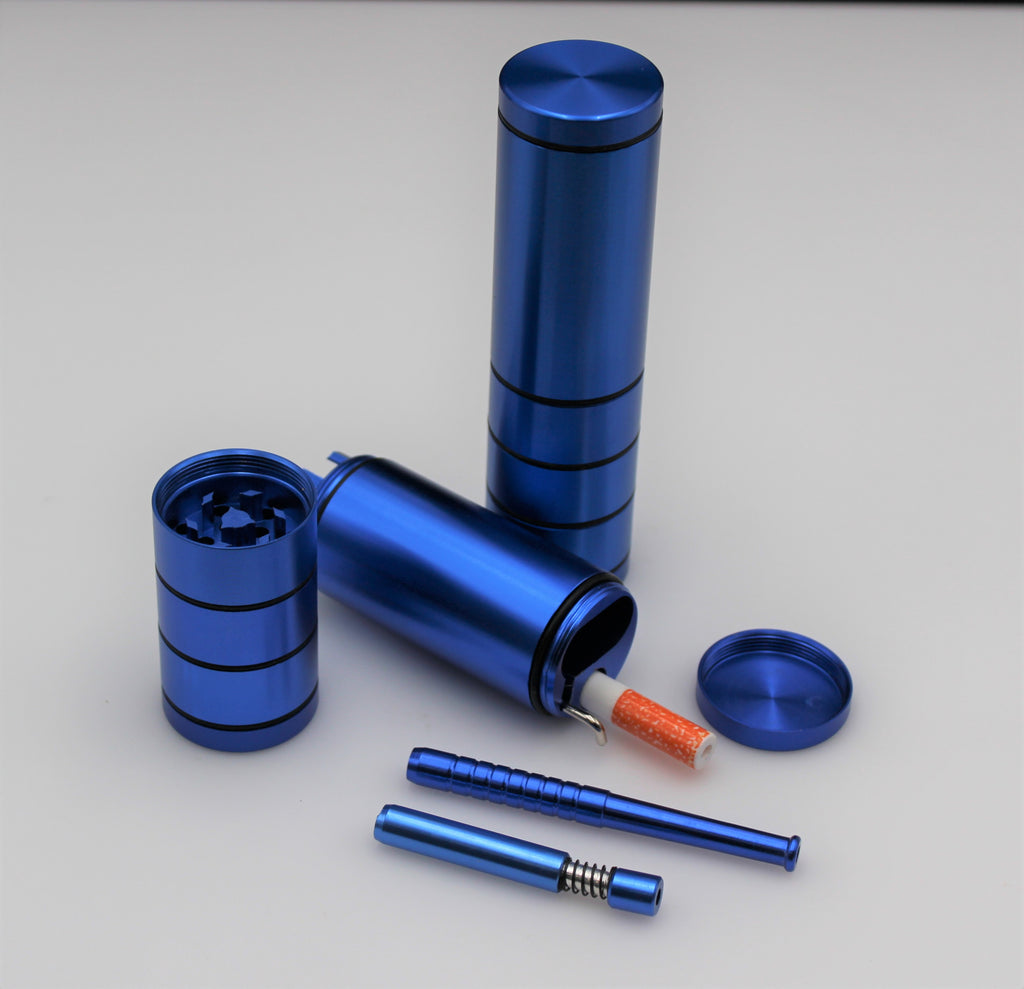 4 LAYER GRINDER DUGOUT COMBO OUTDOOR KIT - BLUE - w/ 3 Tobacco One Hitter Pipes