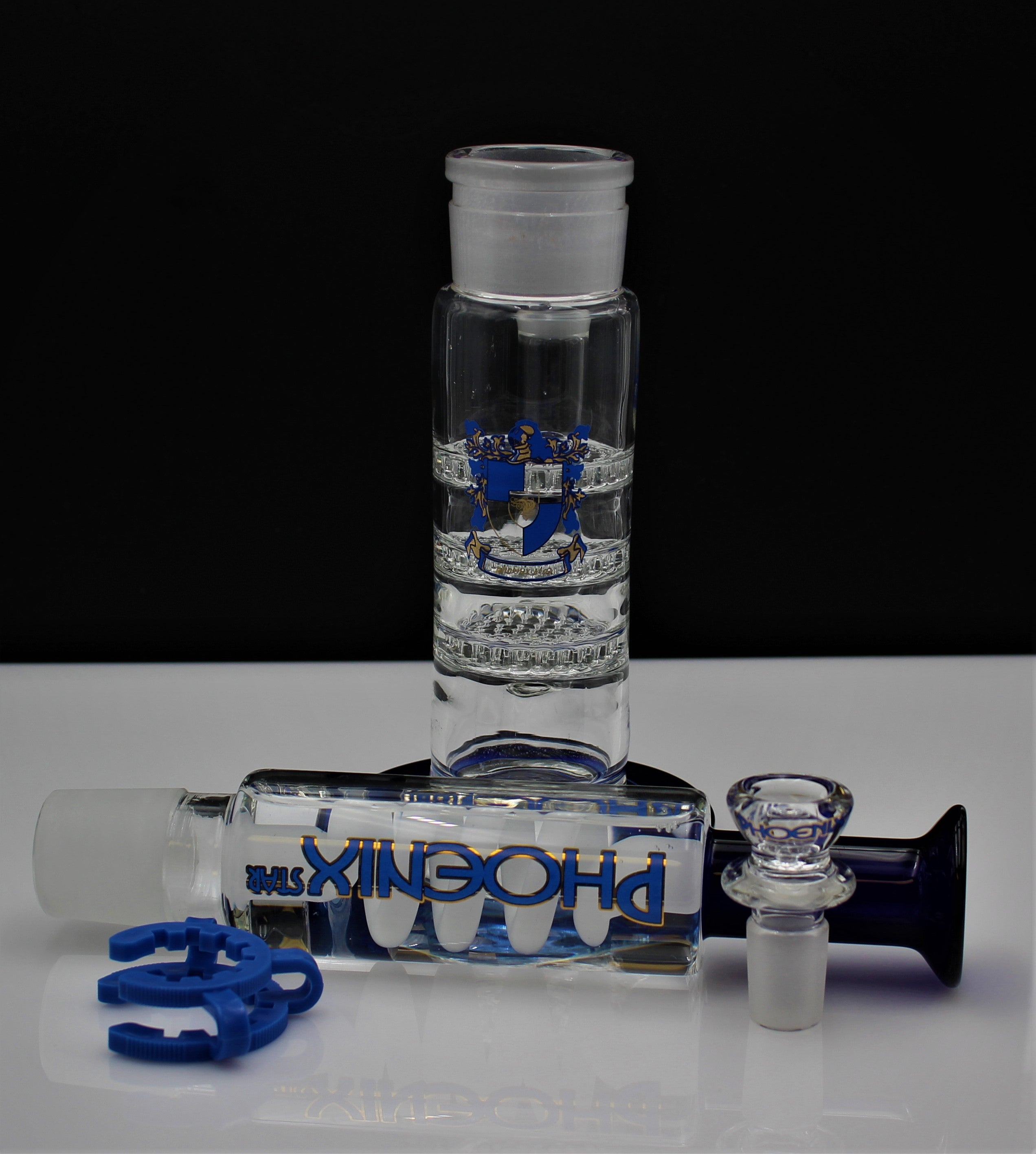 "15"" FREEZABLE Coil Hookah Water Pipe BLUE TRIPLE HONEYCOMB PERC"