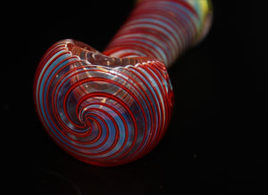 "4"" LAVA RED SPIRAL GLASS Pipe"