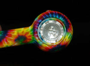 "4"" TIE DYE SILICONE and GLASS Pipe w/ EXTRA BOWL"