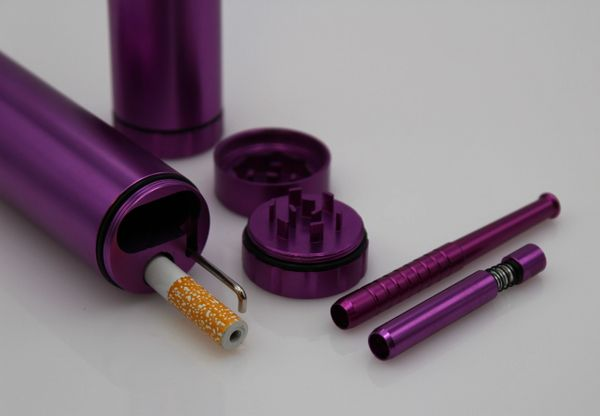 DUGOUT COMBO OUTDOOR KIT -PURPLE- w/Grinder & 3 Tobacco One Hitter Pipes
