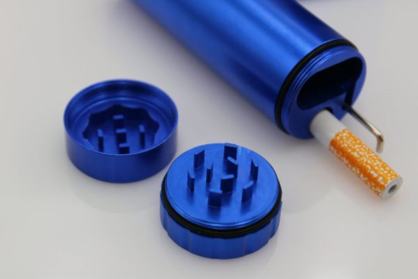 DUGOUT COMBO OUTDOOR KIT -BLUE- w/Grinder & 3 Tobacco One Hitter Pipes