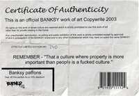 Burner Prize 'Certificate of Authenticity'