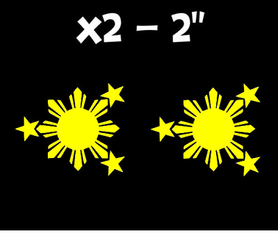 Philippines Flag Sun and Stars JDM Vinyl Decal Sticker Yellow (Phil Flag 2IN)
