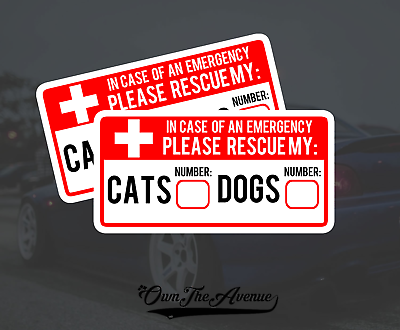 x2 Cat & Dog Pet Emergency Rescue Sticker Decal - Fire safety First Responder 5