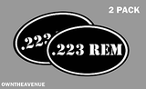 ".223 REM oval Ammo Can -2 PACK - 5""x3"" Oval .223 REM Vinyl Sticker Decal"