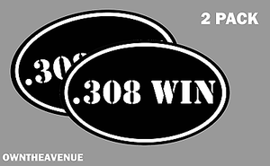 ".308 WIN oval Ammo Can -2 PACK - 5""x3"" Oval .308 WIN Vinyl Sticker Decal"