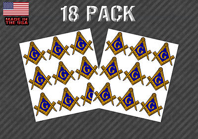 18 Pack Masonic Compass Sticker Decal - 1
