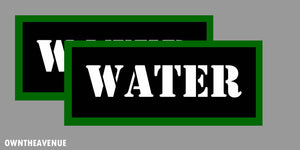 "Water Labels 7"" x 3"" stickers decals Ammo Storage (2PACK) LARGE"