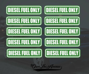 "100x Diesel Fuel Only sticker decal tank fuel door set pack lot 3"" each"