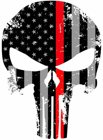 "Punisher Skull Red Tattered Subdued Flag Window Bumper Decal Sticker 5.5"" Inches"
