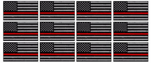 "x12 Subdued Red Tattered Flag 3"" Helmet USA Vinyl Sticker Decal #33282"