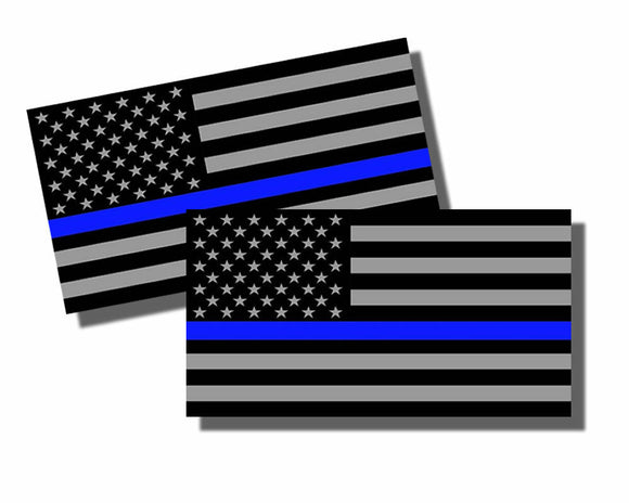 2x Support Police Sticker Decal USA Flag Thin Blue Line 2nd Amendment 2A 4