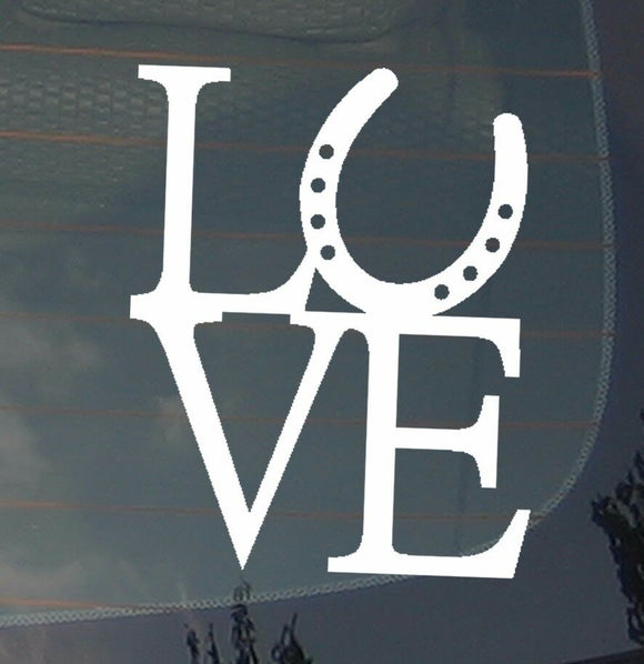 Love Horseshoe Horse Back Riding Lovers Outdoors Vinyl Decal Sticker 4