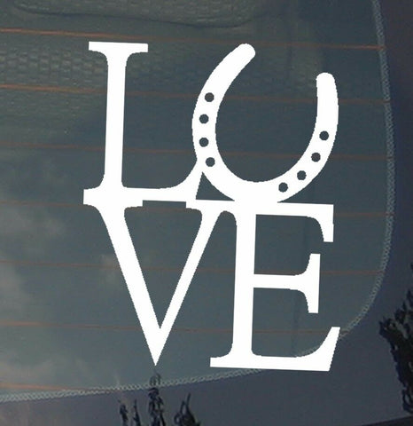 "Love Horseshoe Horse Back Riding Lovers Outdoors Vinyl Decal Sticker 4"" Inch"