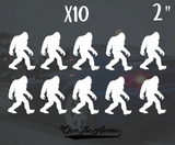 "x10 Sasquatch Big Foot Sticker Decal - 2"" Each Yeti Mini Pack"